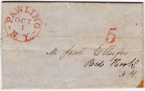 Pawling NY Folded Letter Sheet 1851 5 Cents